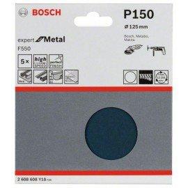 Bosch F550 csiszolólap, 5-ös csomag 125 mm, 150