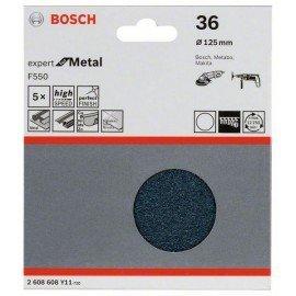 Bosch F550 csiszolólap, 5-ös csomag 125 mm, 36
