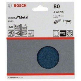 Bosch F550 csiszolólap, 5-ös csomag 125 mm, 80