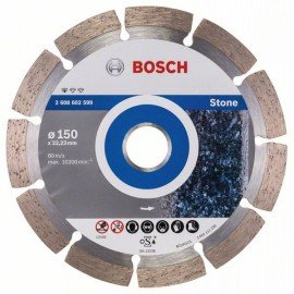 Bosch Gyémánt darabolótárcsa, Standard for Stone kivitel 150 x 22,23 x 2 x 10 mm