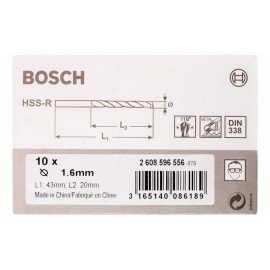 Bosch HSS-R fémfúrók, DIN 338 1,6 x 20 x 43 mm