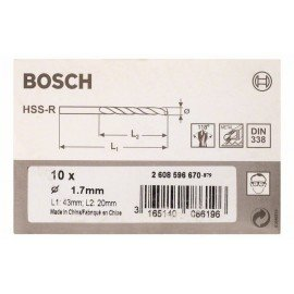 Bosch HSS-R fémfúrók, DIN 338 1,7 x 20 x 43 mm