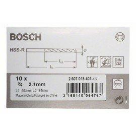 Bosch HSS-R fémfúrók, DIN 338 2,1 x 24 x 49 mm