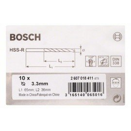 Bosch HSS-R fémfúrók, DIN 338 3,3 x 36 x 65 mm