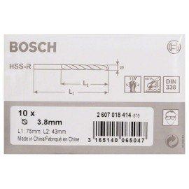 Bosch HSS-R fémfúrók, DIN 338 3,8 x 43 x 75 mm