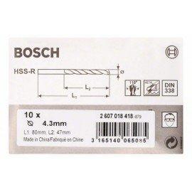 Bosch HSS-R fémfúrók, DIN 338 4,3 x 47 x 80 mm