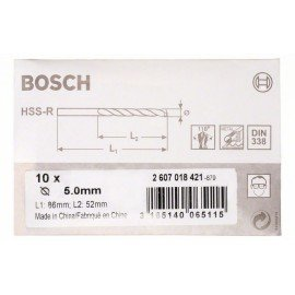 Bosch HSS-R fémfúrók, DIN 338 5 x 52 x 86 mm