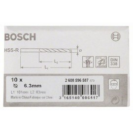 Bosch HSS-R fémfúrók, DIN 338 6,3 x 63 x 101 mm