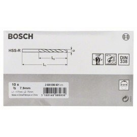 Bosch HSS-R fémfúrók, DIN 338 7,9 x 75 x 117 mm