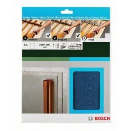 Bosch Kézi csiszolópapír, fém, 230 x 280 mm, P40/80/120 2 x G= 40, 80, 120