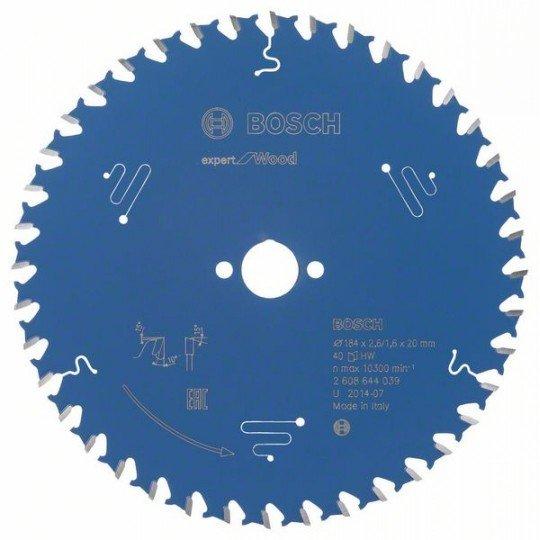 Bosch Körfűrészlap, Expert for Wood 184 x 20 x 2,6 mm, 40
