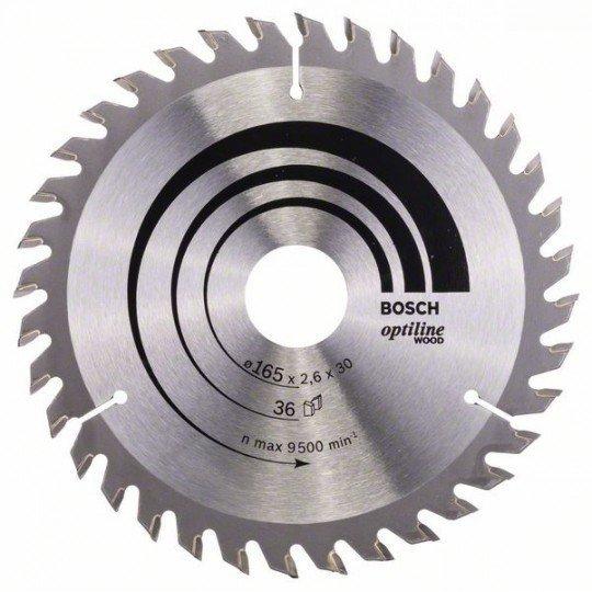 Bosch Körfűrészlap, Optiline Wood 165 x 30 x 2,6 mm, 36