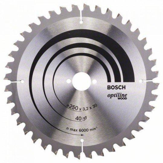Bosch Körfűrészlap, Optiline Wood 250 x 30 x 3,2 mm, 40