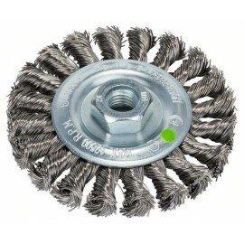 Bosch Korongkefe sarok- és egyenes csiszolókhoz – fonott drót, rozsdamentes, 100 mm D= 100 mm