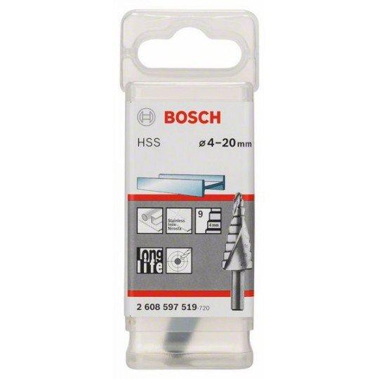 Bosch Lépcsős fúró HSS 4 - 20 mm, 8,0 mm, 70,5 mm