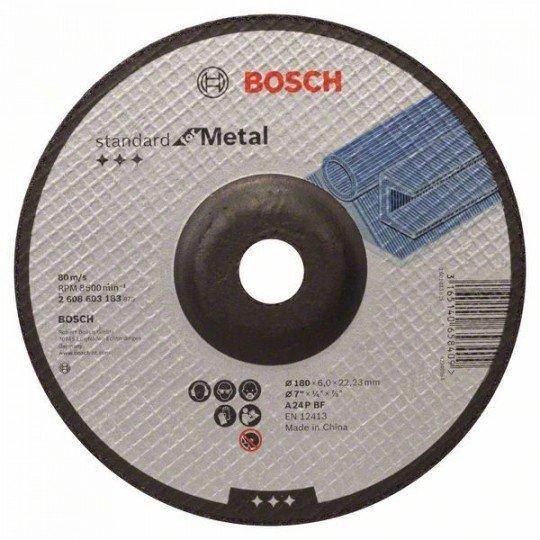Bosch Nagyolótárcsa, hajlított, Standard for Metal A 24 P BF, 180 mm, 22,23 mm, 6,0 mm