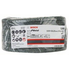 Bosch R774 fíber csiszolótárcsa, Best for Metal 115 mm, 22,23 mm, 120