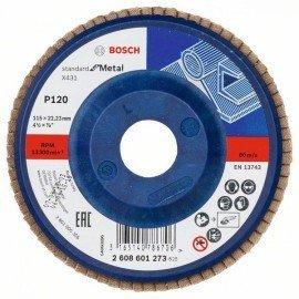 Bosch X431 legyező csiszolótárcsa, Standard for Metal 115 mm, 22,23 mm, 120