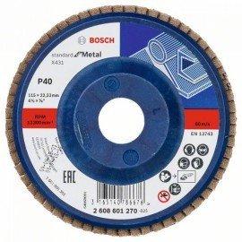 Bosch X431 legyező csiszolótárcsa, Standard for Metal 115 mm, 22,23 mm, 40