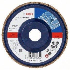 Bosch X431 legyező csiszolótárcsa, Standard for Metal 125 mm, 22,23 mm, 120