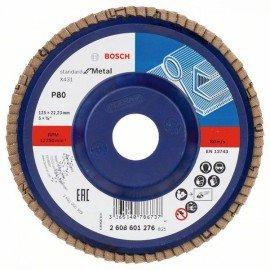 Bosch X431 legyező csiszolótárcsa, Standard for Metal 125 mm, 22,23 mm, 80