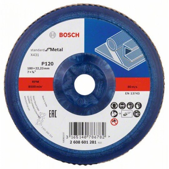 Bosch X431 legyező csiszolótárcsa, Standard for Metal 180 mm, 22,23 mm, 120