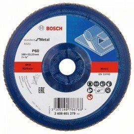 Bosch X431 legyező csiszolótárcsa, Standard for Metal 180 mm, 22,23 mm, 60