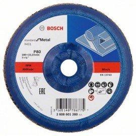 Bosch X431 legyező csiszolótárcsa, Standard for Metal 180 mm, 22,23 mm, 80