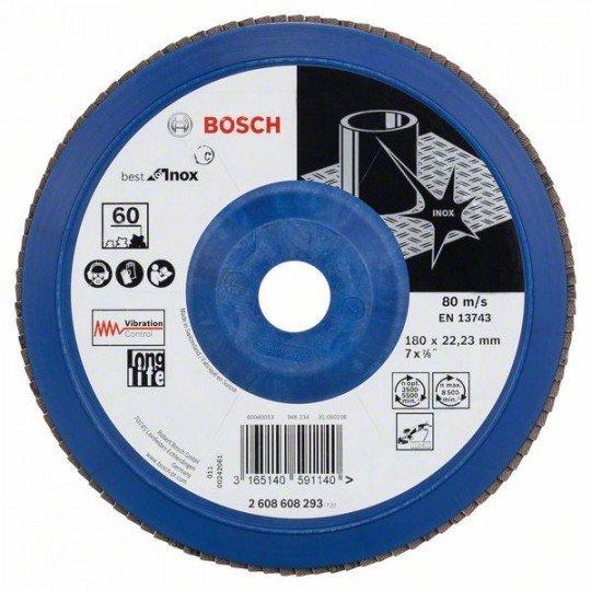Bosch X581 fíber csiszolótárcsa, Best for Inox 180 mm, 22,23 mm, 60