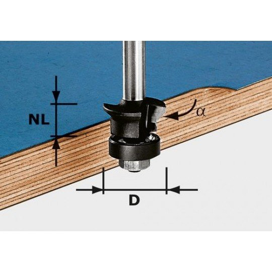 Festool Élletörés-szintbemaró, szár 8 mm HW S8 D24/0° +45°