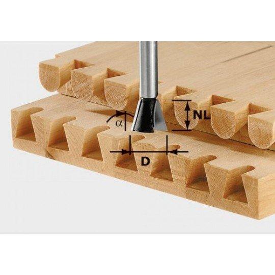 Festool HS fecskefarkas maró előhasítóval, szár 8 mm HS S8 D20/17/15°