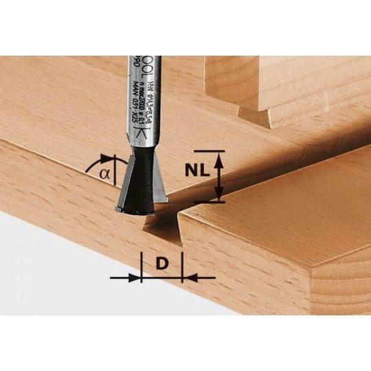 Festool HW fecskefarkas maró előhasítóval, szár 8 mm HW S8 D14,3/13,5/15°