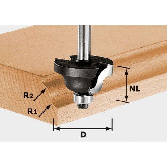 Festool HW kettősrádiuszmaró, szár 8 mm HW S8 D31,7/R4/R4